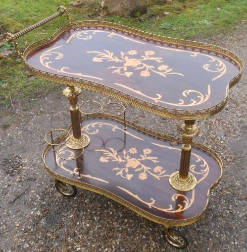 Kidney Shaped Inlaid Walnut Drinks Trolley